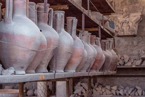 Old amphoras in Pompeii, Italy.