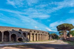 Old arena in ruins of Pompeii, Italy