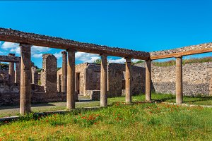 View of ruins of Pompeii, Italy.