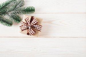 Christmas tree and gift box.