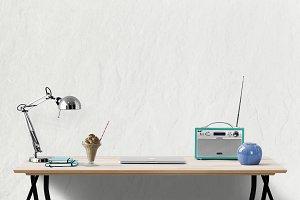 desk mockup | blank wall