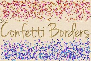 Digital Confetti Border Clipart Pack