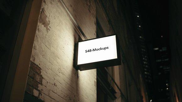 Rectangle Light box shop sign mockup