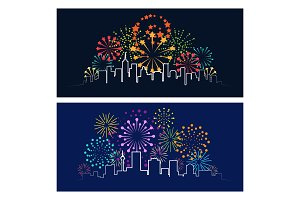 Fireworks city skyline