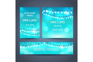 Christmas garlands on blue cards set