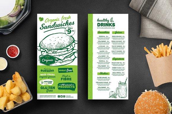 dl menu flyer template brochure templates creative market