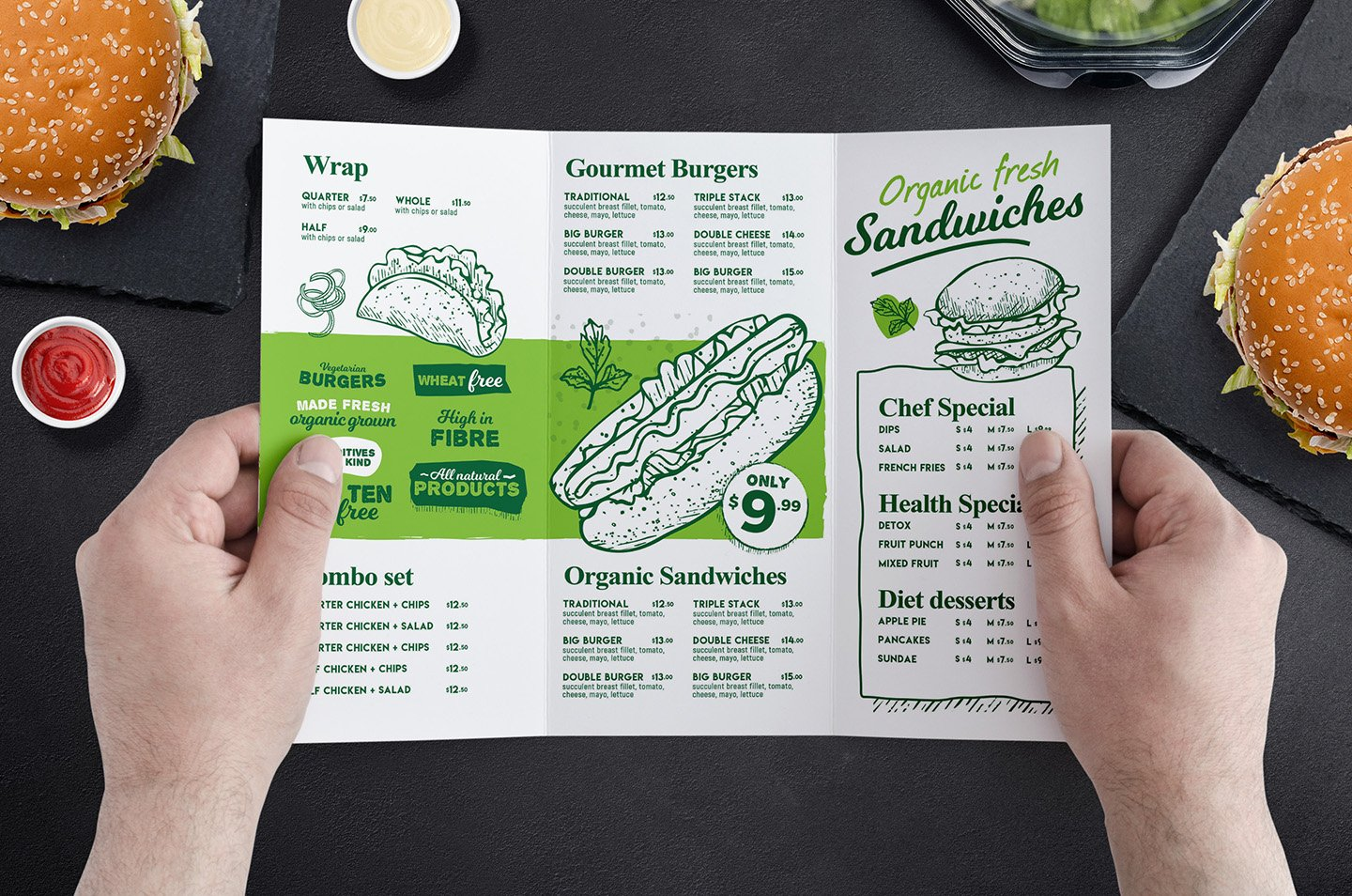 TriFold Burger Menu Template Brochure Templates Creative Market - 3 fold menu template