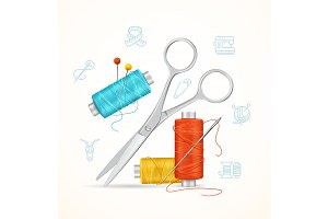 Sewing and Needlework Tools Concept.