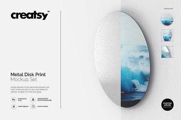 Metal Disk Print Mockup Set