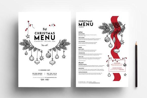 christmas menu template vol3 brochure templates creative market - Simple Christmas Menu