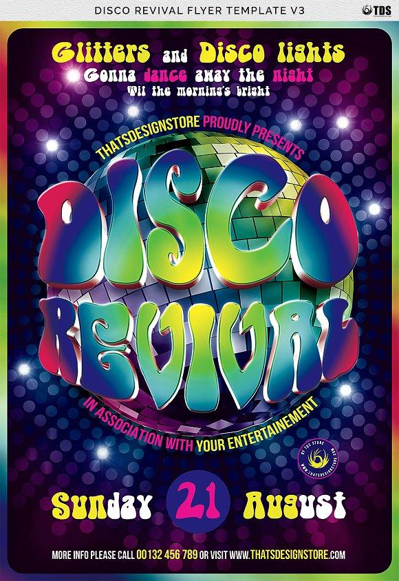 Disco Revival Flyer Template V3 Flyer Templates Creative Market