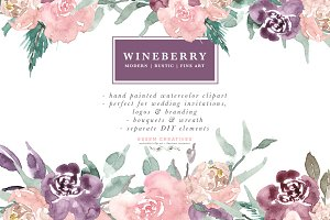 Wine Berry Burgundy Flowers Clipart