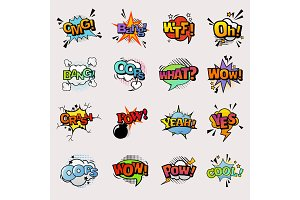 Pop art comic vector speech bubbles popart style in humor bubbling expression asrtistic comics shapes isolated on white background illustration