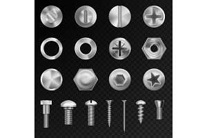 Screw vector steel bolts nuts and metal rivet screwing chrome head bolts construction elements isolated illustration
