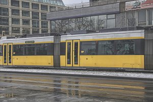 Berlin tram in winter