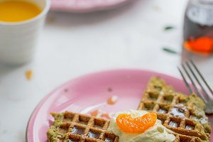 Creamed Waffles, Mandarins, & Syrup