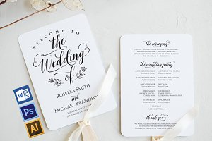 Wedding Program Fan WPC384