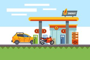 Energy, power and gas stations.