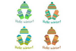 Winter mittens and cap illustrations