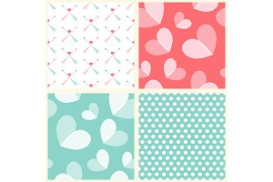 Cute set of Valentine's Day seamless patterns in retro style with hearts and arrows