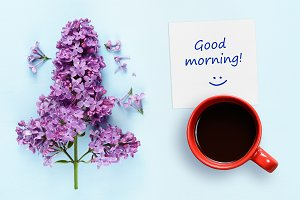 Good morning wishes and coffee cup