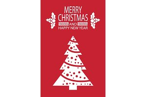 Merry Christmas Happy New Year Postcard with Tree