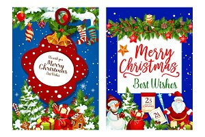 Christmas holiday gifts vector greeting card
