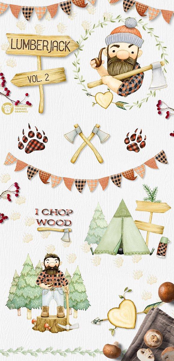 Lumberjack II Watercolor Collection