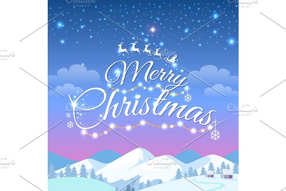 Merry christmas greeting card with snowy mountains graphic objects merry christmas greeting card with snowy mountains objects m4hsunfo