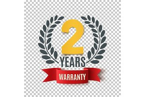 Two Years Warranty background with red ribbon and olive branch.