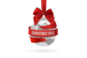 Christmas sale, earth icon with red bow and ribbon around.