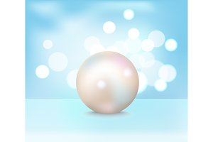Huge White Shiny Pearl Vector Illustration