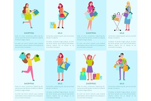 Shopping and Sale Set of Posters with Shoppers