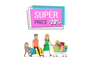 Super Price Promo Sticker Family Shopping Trolley