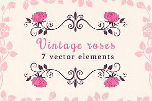 Vintage vector roses