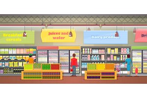 Supermarket Interior, People Vector Illustration