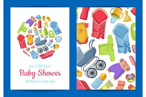 Vector baby shower invitation card template with baby accessories