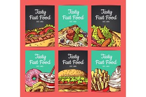 Vector card templates set with hand drawn fast food elements and place for text