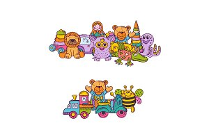 Vector set of big kid toys piles hand drawn and colored isolated on white background