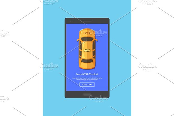 Vector Taxi Car Top View Order App Screen For Smartphone Template