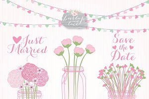 Mason jar wedding pink/green
