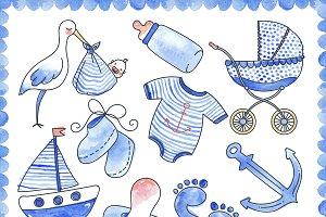 Baby Boy Watercolor Elements Set