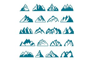 Monochrome pictures set of different mountains. Vector collections for labels design