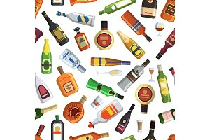 Illustrations for textile production. Seamless pattern with colored alcoholic bottles and glasses