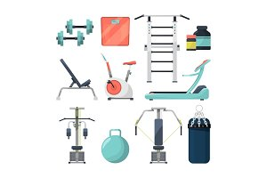Different fitness items for gym. Illustration of equipment for bodybuilding