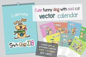 Cute funny dog calendar 2018