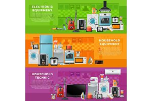 Horizontal banners set with different household technics. Electronic equipment in cartoon style