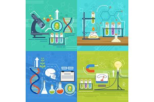 Conceptual illustrations of science with different chemist symbols. Vector banners in cartoon style