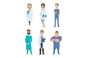 Different medical personal. Male and female doctors. Cartoon characters