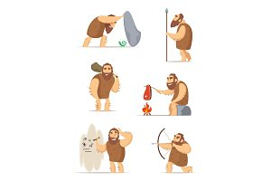 Caveman and different action poses